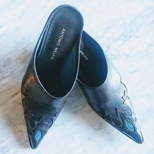 Antonio Melani Western Mules Heel Brown Blue 6.5